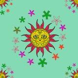 Nahtlose Beschaffenheit mit Sonne Geometrische Verzierung auf einem alten Papier Lizenzfreies Stockfoto