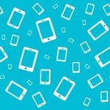 Nahtlose Beschaffenheit mit weißem Handy auf einem blauen Hintergrund Lizenzfreie Stockfotos