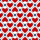 Nahtlose Beschaffenheit von den roten Herzen Stockfotos