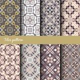 Nahtlose Beschaffenheitssammlung des Vektors Satz schöne farbige Muster für Design und Mode mit dekorativen Elementen Lizenzfreie Stockbilder
