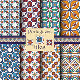 Nahtlose Beschaffenheitssammlung des Vektors Satz schöne farbige Muster für Design und Mode mit dekorativen Elementen Lizenzfreies Stockfoto