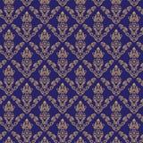 Nahtlose Blau-Farbe der Damast-Tapeten-2 Lizenzfreie Stockfotografie