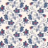 Nahtlose blaue mit Blumenblume der Vektorweinlese Lizenzfreie Stockbilder