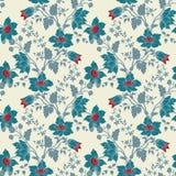 Nahtlose blaue mit Blumenblume der Vektorweinlese Stockfotos