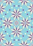 Nahtlose blaue purpurrote abstrakte Blumen Stockfoto