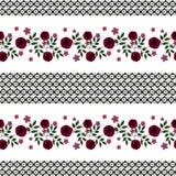 Nahtlose Blumen vom Muster der roten Rosen auf weißem Hintergrund Lizenzfreie Stockfotografie