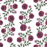 Nahtlose Blumen vom Muster der roten Rosen auf weißem Hintergrund Stockfotografie