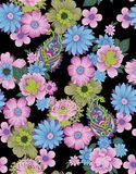 Nahtlose Blumenblume Paisley mit schwarzem Hintergrund vektor abbildung