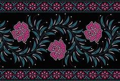 Nahtlose Blumengrenze mit schwarzer Farbe lizenzfreie abbildung