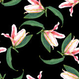Nahtlose Blumenmusterlilien Stockfotografie