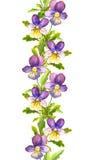 Nahtlose Blumenstreifengrenze mit botanischer gemalter violetter Viola blüht Stockbilder