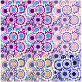 nahtlose Blumenverzierungen mit Kreisen Stockbilder