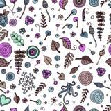 Nahtlose botanische Beschaffenheit, Blumen, Blätter, Spiralen, Beeren Stockfotos