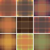 Nahtlose britische Musterhintergrundsammlung Plaidherbstpalettenschottenstoff-Mustersatz Wiederholte Twillbeschaffenheit für Mode Stockbilder