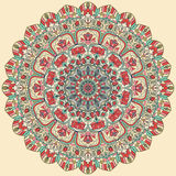 Nahtlose bunte Blumenhand gezeichnetes Muster mit Mandala Stockfotografie