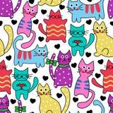Nahtlose bunte Katzen der Karikatur Stockfoto