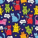 Nahtlose bunte Katzen der Karikatur lizenzfreie abbildung