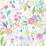 Nahtlose bunte mit Blumenhand gezeichnetes Muster Stockfotografie