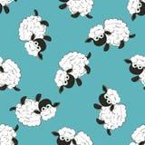 Nahtlose bunte Mustervektorillustration mit weißen Schafen Lizenzfreies Stockfoto