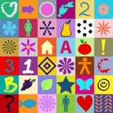 Nahtlose bunte Quadrate mit Symbolen Stockbild