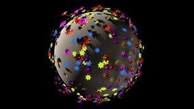 Nahtlose cartoony Schleife eines Fantasie 3D Erdplaneten mit Blumen auf ihm Wiedergabe 3d stock video