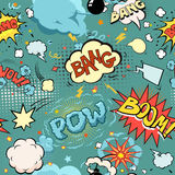 Nahtlose Comic-Buch-Explosion, Bomben und Explosions-Satz Stockbild