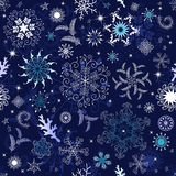 Nahtlose dunkelblaue Weihnachtstapete Stockfoto