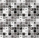 Nahtlose einfarbige Musterquadrate und -kreise Schwarze und graue geometrische nahtlose Muster Stockfotos