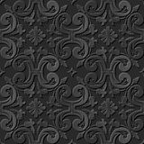 Nahtlose elegante dunkle Papiermuster 194 der kunst 3D gewundene Querblume Lizenzfreies Stockbild