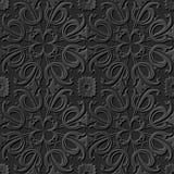 Nahtlose elegante dunkle Papiermuster 249 der kunst 3D gewundene Querblume Lizenzfreie Stockfotografie