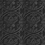 Nahtlose elegante dunkle Papiermuster 183 der kunst 3D rundes Querblatt stock abbildung