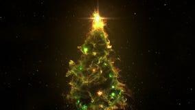 Nahtlose Entschließung der Schleife 4k des grünen gelben Nebelfleck-Weihnachtstannen-Baumhintergrundes stock footage