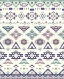 Nahtlose ethnische Musterbeschaffenheiten Muster des amerikanischen Ureinwohners Grüne und blaue Farben Stockbilder