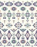 Nahtlose ethnische Musterbeschaffenheiten Muster des amerikanischen Ureinwohners Grüne und blaue Farben Stockfoto