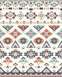 Nahtlose ethnische Musterbeschaffenheiten Muster des amerikanischen Ureinwohners Graue und orange Farben Lizenzfreie Stockfotos