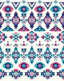 Nahtlose ethnische Musterbeschaffenheiten Muster des amerikanischen Ureinwohners Rosa und blaue Farben Stockfoto