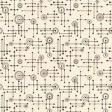 Nahtlose fünfziger Jahre Retro- Muster von Linien und von Kreisen vektor abbildung