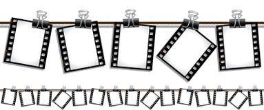 Nahtlose Filmstreifen, die heraus hängen, um zu trocknen Stockfotos