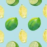 Nahtlose Fliese mit Zitrone und Kalk auf hellblauem stockfotografie
