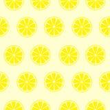 Nahtlose Früchte vector Muster, hellen symmetrischen Hintergrund mit Zitronen über gelbem Hintergrund Stockbilder