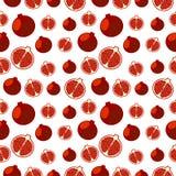 Nahtlose Früchte vector Muster, heller Farbhintergrund mit Granatäpfeln, ganz und Hälfte, über hellem Hintergrund Stockbild