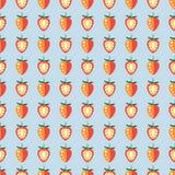 Nahtlose Früchte vector Muster, symmetrischer Pastellhintergrund mit Erdbeeren, ganz und Hälfte, auf dem blauen Hintergrund Stockfotografie