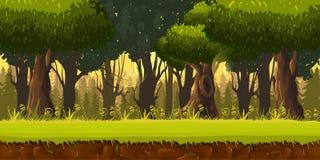 Nahtlose Frühlingswaldlandschaft, immer währender Vektornaturhintergrund mit getrennten Schichten für Spieldesign Lizenzfreie Stockfotografie