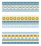 Nahtlose geometrische ethnische Streifen mit Quadraten, Kreisen und Stichen Stockfotos