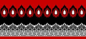 Nahtlose geometrische Grenzrotes und weißes Schwarzes stock abbildung