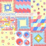 Nahtlose geometrische Muster Flach rote, blaue, gelbe Beschaffenheit Lizenzfreie Stockfotografie