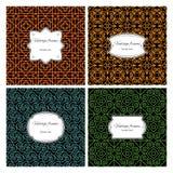 Nahtlose geometrische Muster mit Rahmensatz Lizenzfreie Stockfotos
