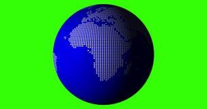 nahtlose geschlungene drehende Kugel 4k 60fps mit weißem Pixel-Land, blauem Wasser und grünem Schirm-Hintergrund stock abbildung