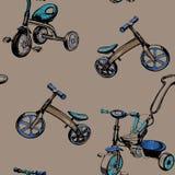 Nahtlose gezeichnete Babyroller und -fahrräder des Musters Hand Stockfotografie