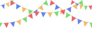 Nahtlose Girlande mit Feier kennzeichnet Kette, Gelb, Blau, Rot, grüne Pennons auf weißem Hintergrund, Seitenende und Fahne für d stockbild